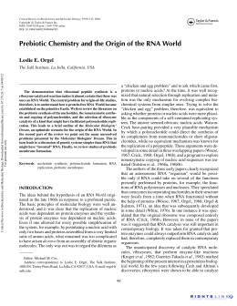 Prebiotic Chemistry and the Origin of the RNA World