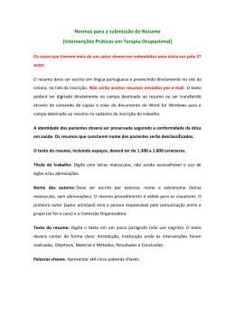 Normas para a submissão do Resumo (Intervenções