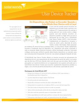 Recursos do SolarWinds User Device Tracker