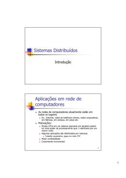 Sistemas Distribuídos Aplicações em rede de