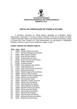 Edital de Convocação 001 - Prefeitura Municipal de Tobias Barreto
