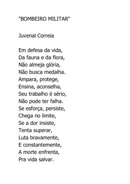 """""""BOMBEIRO MILITAR"""" Juvenal Correia Em defesa da vida, Da"""