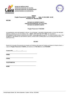 EDITAL Pregão Presencial Nº 000063/2009 Data: 27/03/2009 16:30