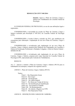 RESOLUÇÃO CFP Nº 001/2014 Ementa