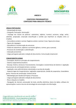 ANEXO II CONTEÚDO PROGRAMÁTICO CONTEÚDO