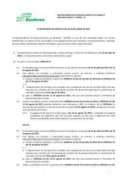 2ª RETIFICAÇÃO DO EDITAL Nº 01, DE 26 DE