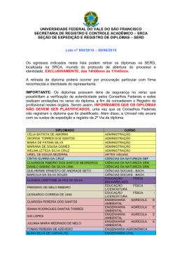 Lote nº 04/2015 - SRCA