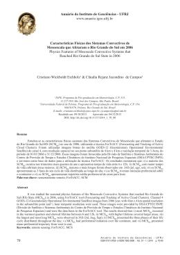 Características Físicas dos Sistemas Convectivos de Mesoescala