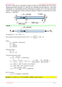 Ex. 4-5 A barra de aço mostrada na figura ao lado tem um diâmetro