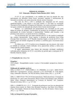 GT21 - Relatório de Atividades - 2012 / 2013