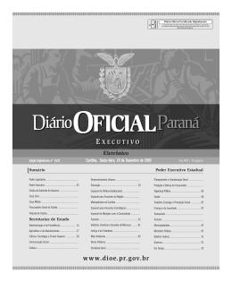 para ver a edição do Diário Oficial do Paraná