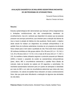 AVALIAÇÃO DIAGNÓSTICA DE MULHERES SEDENTÁRIAS
