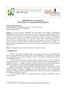sa08-20949 - história da avaliação: do exame à avaliação diagnóstica