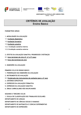 CRITÉRIOS DE AVALIAÇÃO Ensino Básico