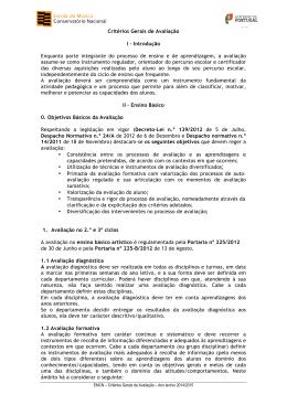 Critérios Gerais de Avaliação I - Escola de Música do Conservatório