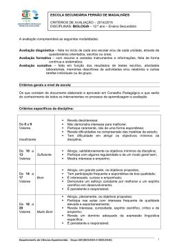 Biologia (12.º ano) - Agrup. de Escolas Fernão de Magalhães
