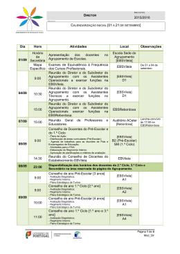 Consulte o calendário inicial - Agrupamento de Escolas de VILELA