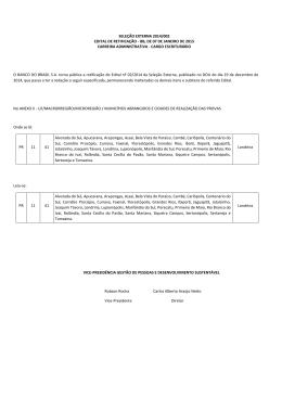 SELEÇÃO EXTERNA 2014/002 EDITAL DE RETIFICAÇÃO