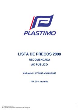 LISTA DE PREÇOS 2008