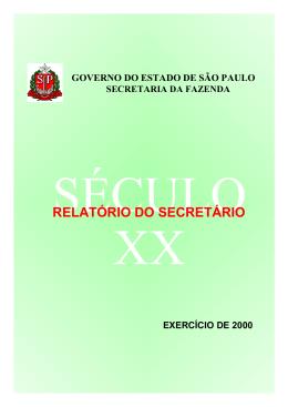 RELATÓRIO DO SECRETÁRIO - Secretaria da Fazenda
