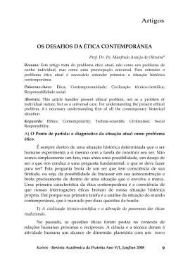 OS DESAFIOS DA ÉTICA CONTEMPORÂNEA