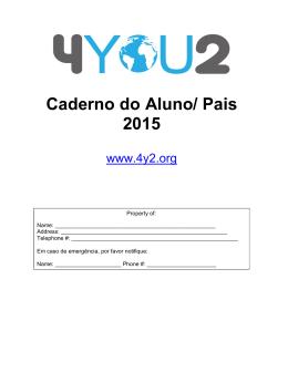 Caderno do Aluno/ Pais 2015