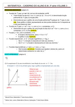 MATEMÁTICA – CADERNO DO ALUNO E.M. 3ª série VOLUME 3