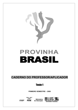 Caderno do Professor/Aplicador
