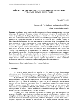 A LÍNGUA INGLESA NO MUNDO - Instituto de Letras e Lingüística