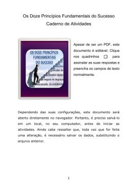 Os Doze Princípios Fundamentais do Sucesso Caderno de Atividades
