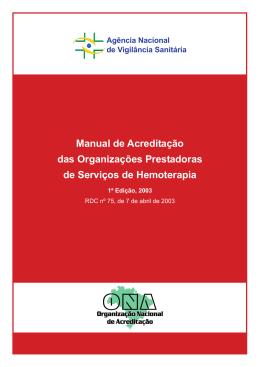Manual de Acreditação das Organizações Prestadoras de Serviços