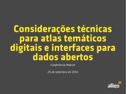 Considerações técnicas para atlas temáticos digitais e interfaces