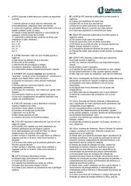 1. (UFPA) Assinale a alternativa que contém as respostas corretas. I