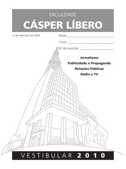 Prova Vestibular 2010 - Faculdade Cásper Líbero
