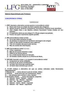 Material Disponibilizado pelo Professor: CONCORDÂNCIA VERBAL