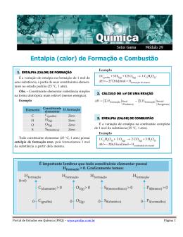 DH de Formação e Combustão - Portal de Estudos em Química