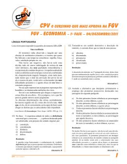 FGV – economia – 1a Fase – 04/dezembro/2011