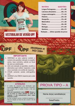 PROVA TIPO – A - Vestibular UPF