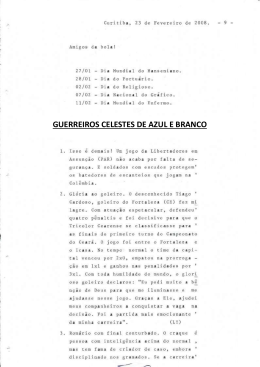 GUERREIROS CELESTES DE AZUL E BRANCO