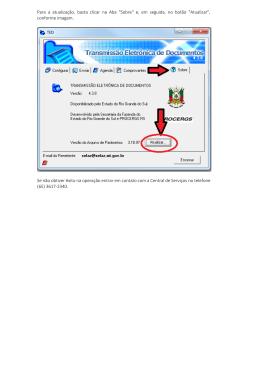 """Para a atualização, basta clicar na Aba """"Sobre"""" e, em"""
