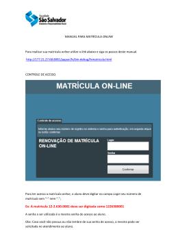 Manual de Utilização da Matrícula online da Faculdade São