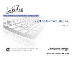 Nível da Microarquitetura - Departamento de Sistemas e Computação