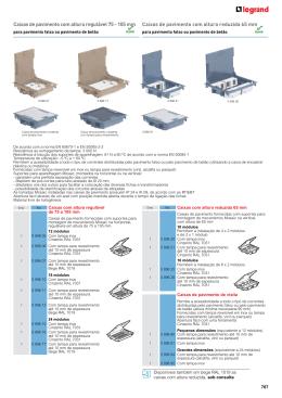 Caixas de pavimento com altura regulável 75 - 105 mm