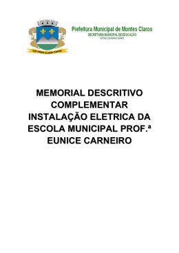 MEMORIAL DESCRITIVO eletrico - Prefeitura de Montes Claros-MG
