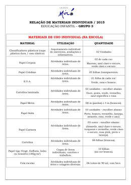 MATERIAIS DE USO INDIVIDUAL (NA ESCOLA) RELAÇÃO DE
