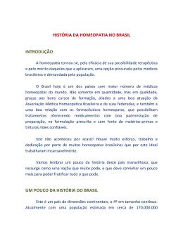 HISTÓRIA DA HOMEOPATIA NO BRASIL INTRODUÇÃO UM