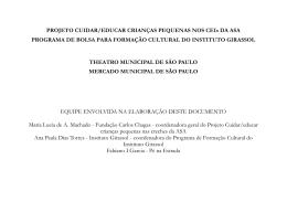 PROJETO CUIDAR/EDUCAR CRIANÇAS PEQUENAS