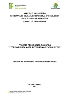 IDENTIFICAÇÃO DO PROJETO - Campus Telêmaco Borba