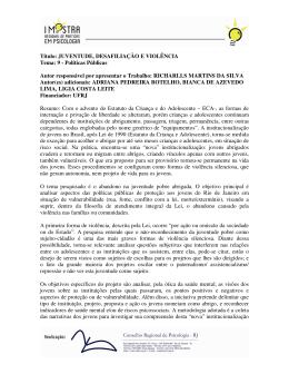 Título: JUVENTUDE, DESAFILIAÇÃO E VIOLÊNCIA Tema - CRP-RJ