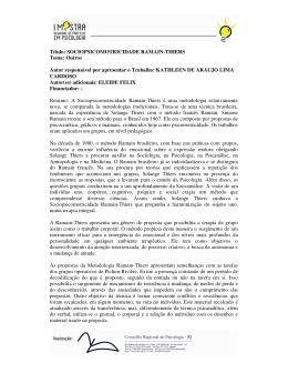 Título: SOCIOPSICOMOTRICIDADE RAMAIN-THIERS - CRP-RJ